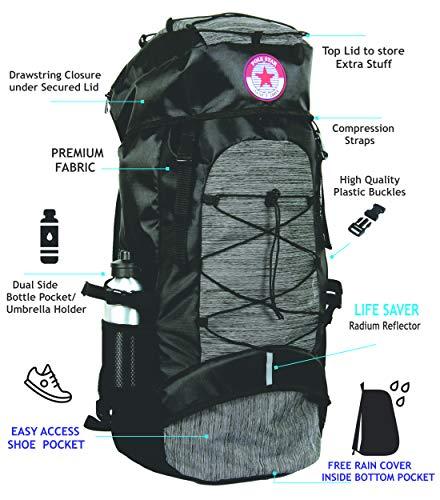 POLESTAR Flyer Black 55 ltrs Rucksack for Hiking Trekking/Travel Backpack Image 2