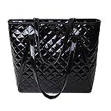 AiSi Damen Lack Leder spiegelte Gitter Handtasche/Damenhandtasche/ Schultertasche/Shopper/ Umhängetaschen/Henkeltasche mit Reißverschluss Schwarz