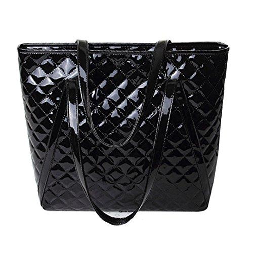 AiSi Damen Lack Leder spiegelte Gitter Handtasche/ Damenhandtasche/ Schultertasche/ Shopper/ Umhängetaschen/ Henkeltasche mit Reißverschluss (Lack Handtasche Schwarze)