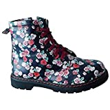 Ladies Girls DM Style Floral Zip Military Biker Combat Flat Ankle Boots Size 10-4