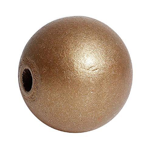 SiAura Material ® - 20 Stück Holzperlen 24mm mit 5,3mm Loch, Rund, Goldfarben zum Basteln