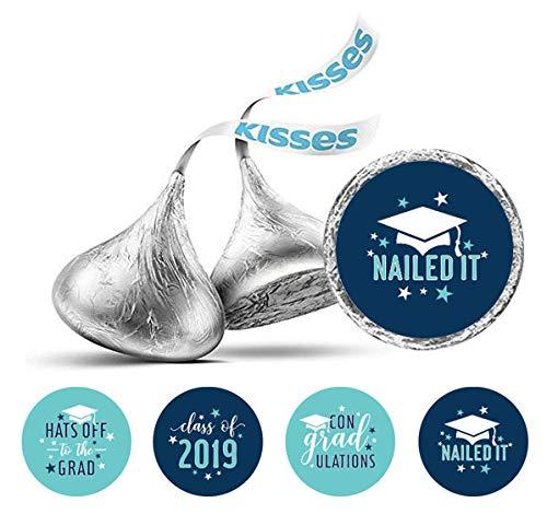 190 PC-Abschluss-Thema Aufkleber Hershey Kisses Schokolade Labels-Blau ()