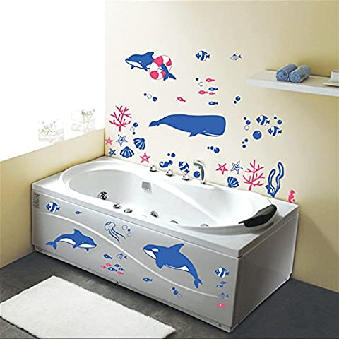 ufengke® Underwater World Blue Whales Wall Decals, Children's Room Nursery Kitchen Bathroom Removable Wall Stickers Murals