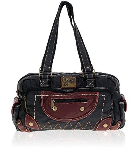 Handtasche ELEPHANT CASUAL MEDIUM Tasche Schultertasche Shopper gewachstes Nylon // SCHWARZ (Nylon-tasche Medium)
