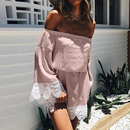 Damen Kleid Longra Frauen Spitze weg Schulter Kleid Langarm Minikleid-Partei-Kleid Pink