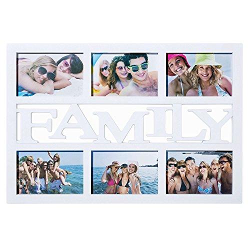 """Eccezionale cornice per foto di famiglia, galleria di immagini, collage, raccolta di foto, con scritta (lingua italiana non garantita) """"family"""", cornice per più foto, per famiglia, partner, colore bianco"""
