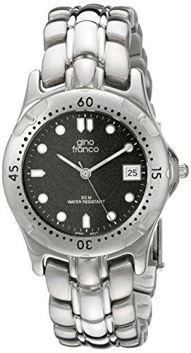 gino franco Men's 953-2 Round Stainless Steel Bracelet Watch