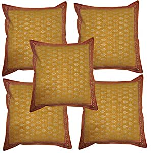 Brown Color Cotton Cushion Cover 16 X 16 Inch Set of 5 Pcs