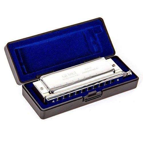 Chromatische Mundharmonika Professionelles 10Loch 40Töne Key of C French Harfe Mund Organ mit Schutzhülle und Reinigungstuch von Kmise