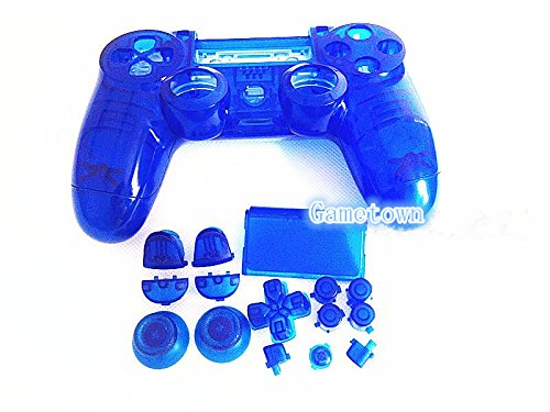 New Ersatz Full Gehäuse Shell Cover Schutzhülle Schutz Hard Skin-Kits mit-Set für Sony Playstation 4 PS4 DUALSHOCK 4 Wireless Controller, Transparent Blau. - Sony Hard-faceplates