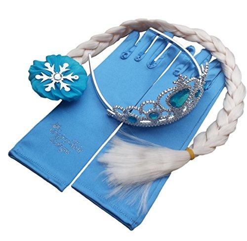 Frozen: Fiebre Congelada con la reina Elsa y la princesa Ana. Juego de 4 piezas. Accesorios de traje para niñas. Incluye la varita mágica, corona tiara de diamante de imitación, trenza de pelo y guantes por Fairy Tale Designs