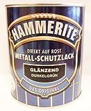 Hammerite Metall-Schutzlack, 750 ml, Dunkelgrün Glänzend, Rostschutz und Lackierung in einem