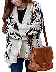 Moin Las mujeres chaqueta cardigan de gruesa estampado geométrico suéter de lana manga larga 2015 Nuevo (No hay botones sin cremallera)