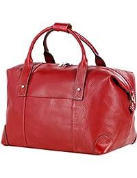 LIVAN® - sac de voyage diligence - 60 X 36 X 25cm - Porté à main ou avant-bras - 100% cuir de vachette neuf (ROUGE) iLxxIAGK
