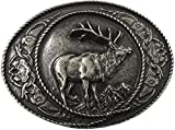 Gürtelschnalle Jäger und Jägerinnen, eindrucksvolles Hirsch Motiv in Altsilber für alle Wechselgürtel bis 40mm