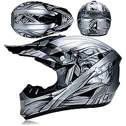 LICIDI Adulte Motocross Casque Dot Certified Four Seasons Off-Road Racing Descente Pédale Casque Lunettes/Masque à Vent/Gants de Cross Country,J,L