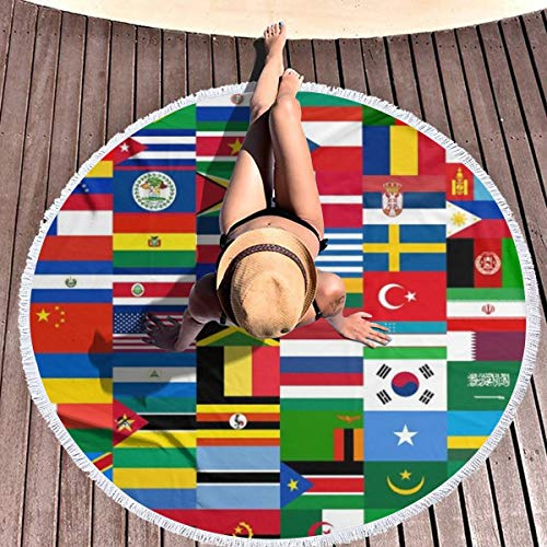 hulil Extra Large Thick Round Beach Towel Flags Quiz Games Microfiber Yoga Mat Blanket Towel 59