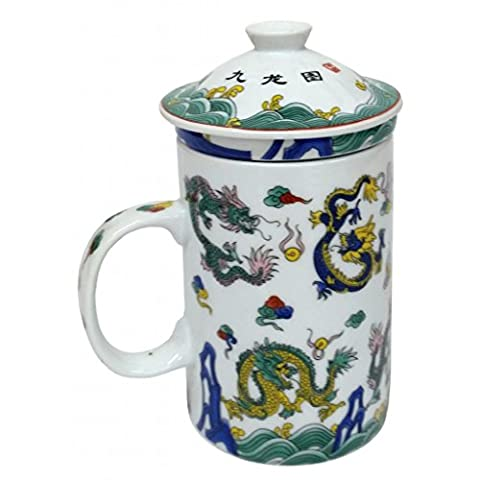 FSH264F Feng Shui Chinese Porcelain Mug Tea Cup with Lid: