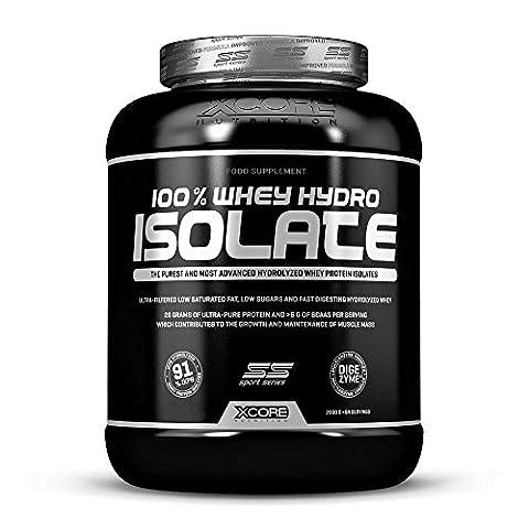 Xcore100%Whey Hydro Isolate SS en poudre(2000g)-Meilleur goût biscuits et crème pour le brûlage de graisse,la récupération musculaire et la musculation.Facile à digérer et faible en glucides-64 doses!