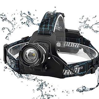 10000LM, wasserdichter IPX5-Scheinwerfer mit XP-G2 R5 LED-GLÜHLAMMEN, 3 Modi aufladbar, Zoom, SOS-Pfeifen-LED-Scheinwerfer für, Multi-Fuction-Scheinwerfer für Camping, Nachtfischen. (Black)