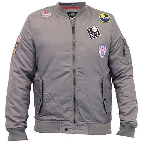Herrenjacke Brave Soul MA1 Harrington Militär USA Orden Gepolstert Bomber Winter Grau - MALMO