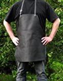vera pelle Griglia Grembiule - Grembiule da cucina - Grembiule di cuoio - Grembiule Cameriere - Grembiule da bistrot - grembiule-lavoro, regolabile beriemung, Nero, resistente all'umidità