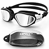 Swim Goggles, COPOZZ G3720 Mirrored / Clear Swimming Goggles Wide View No Leaking Anti Fog UV Protection Swim Goggles with Adjustable Strap Free Protection Case for Men Women Youth (MirrorWhite Suit)