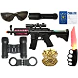 US1984 2018 Unbreakable Police Toy Set Of 9 , Comes With 1 Toy Gun, 1 I.D. Card, 1 Handcuff, 1 Toy Knife, 1 Badge, 1 Whistle, 1 Torch, 1 Goggles, 1 Binoculars And Carry Case, Best Gift For Boys And Girls