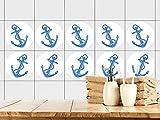 GRAZDesign 770447_57x57_FT Fliesenaufkleber Bad | Fliesensticker blauer Anker mit Seil |maritimer Stil | einfach auf die Fliese kleben | rundes Aufkleber-Set für Bad 25 Stück (57x57cm)