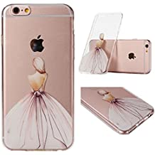 IJIA Ultrafino Transparente Vestido De Cenicienta TPU Silicona Suave Funda Carcasa Tapa Caso Parachoques Cubierta para Apple iPhone 6 Plus / 6S Plus + 24K Etiqueta Engomada
