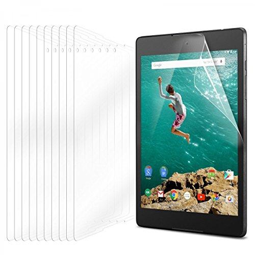 eFabrik 10 x Bildschirm Schutzfolie für HTC Google Nexus 9 Tablet Folie Vorteilspack Zubehör mit Schutz vor Kratzer & Dreck, UV-Schutz, Anti-Beschlag Bildschirmschutzfolie Klar transparent