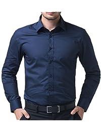 AKAAS Cotton Blend Full Sleeve Men's Formal-Shirt_Navy Blue