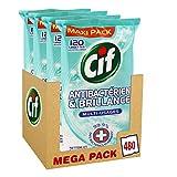 Cif Lingettes Nettoyantes Antibactériennes Multi-Usages 480 Lingettes (Lot de 4x120 Lingettes)