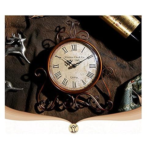 Rétro en métal de style rétro Horloge Décoration Horloge de table Ornement Marron