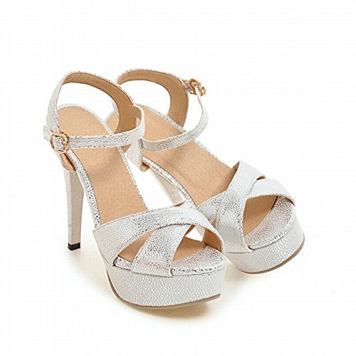 Mee Shoes Damen high heels Plateau Schnalle Sandalen Weiß