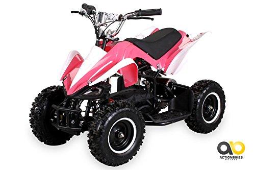 Actionbikes Motors Mini Elektro Kinder Racer 800 Watt ATV Pocket Quad Kinderquad Kinderfahrzeug… (Pink/Weiß)