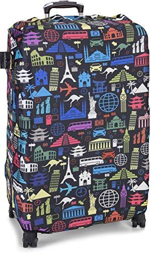 LuxuryforTravel - elastische Kofferschutzhülle Dicke Kofferhülle mit Reißverschluss Kofferüberzug Kofferschutz Kofferbezug Reisekofferabdeckung Koffer Cover Schutz auffallend (at Night, L)