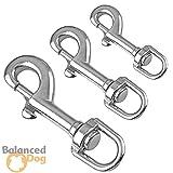 Balanced Dog Wirbelkarabinerhaken Edelstahl 80 mm A4 (2 STK.) div. Größen | Wirbelkarabiner | Hundeleine | Hundehalsband | Drehgelenk