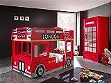 Dreams4Home Kinderzimmer-Set 'Sutton II' - Set, 2-teilig, Etagenbett (B/H/T: ca. 215 x 132 x 96 cm), Kleiderschrank (B/H/T: ca. 90 x 190 x 56 cm), Kinderzimmer, modern, MDF, Metallbeschläge, mit Applikationen, in Rot