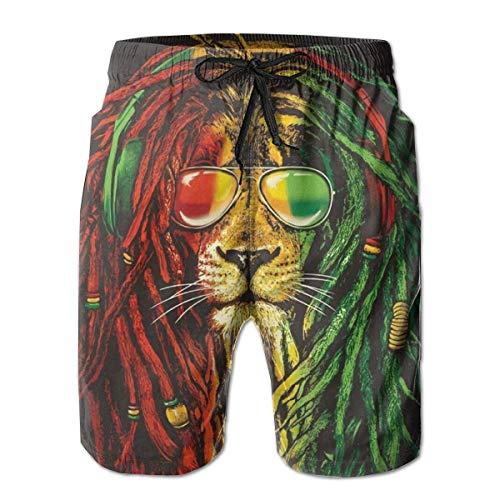 Bensontop Herren Shorts Rasta Cool Sonnenbrille Lion Badehose Quick Dry Board Shorts Sommer Badehose zum Laufen L