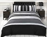 Signature Striped Adults Teenagers Quilt Duvet Cover and Pillowcase Bedding Bed Set, Grey