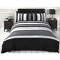 Signature Striped Adults Teenagers Quilt Duvet Cover and 2 Pillowcase Bedding Bed Set, Grey, Double