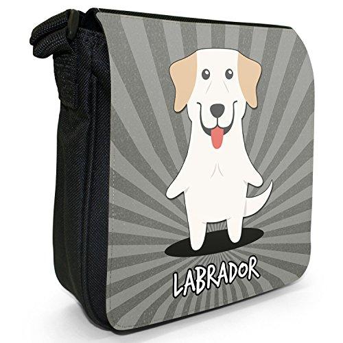 World cani dei cartoni animati-Borsa a tracolla in tela, piccola, colore: nero, taglia: S Labrador Retriever, Lab