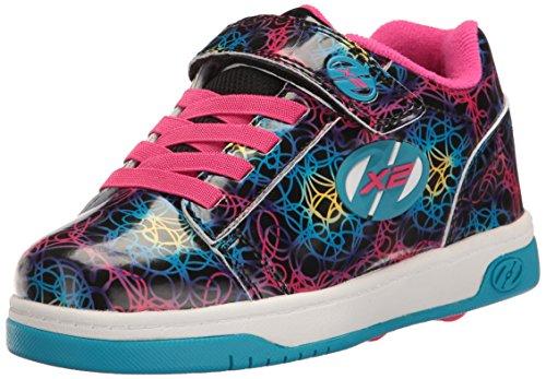 Heelys Mädchen Dual Up 770231 Lauflernschuhe Sneakers, Schwarz / Rosa Schwarz (Black / Cyan / Neon Multi)