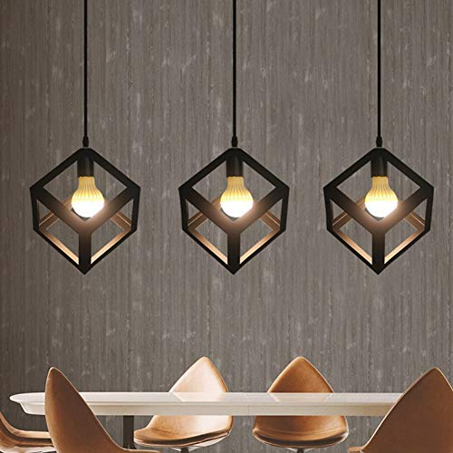 n Metal Cage Pendant Light Industrial Cube Pendant Lights Accessory Loft Ceiling Industrial lamp hanglamp for Home Bar Cafe ()