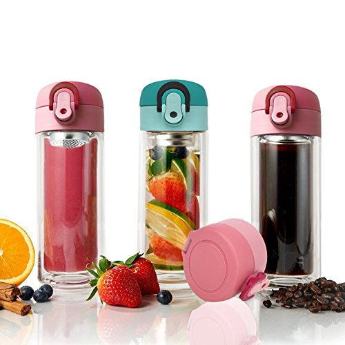 Tenta Kitchen 300 ml vetro doppia parete infusore per tè tazza bicchiere frutta infusione bottiglia di vetro & Coffee Brewer con integrato e seal