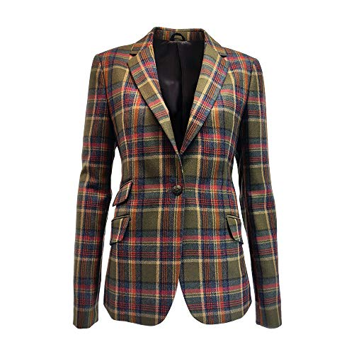 Harris Tweed Damen Jacke Grün Olive/Check Gr. 42, Olive/Check - Check Tweed-jacke