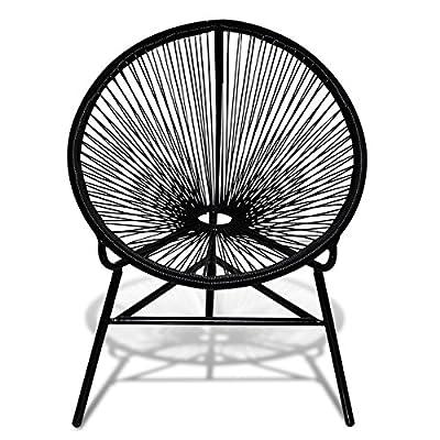 Rattan Stuhl Oval Schwarz