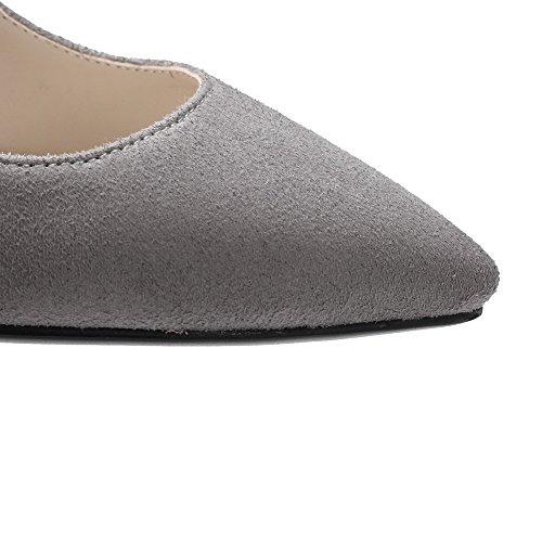 AllhqFashion Femme Suédé à Talon Haut Pointu Couleur Unie Tire Chaussures Légeres Gris