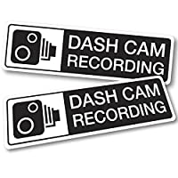 2 x Dash Cam Recording Stickers 12cm x 3.5cm. Security Warning Vehicle Decals. Sticks to outside of vehicle (Black)